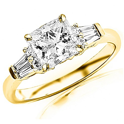 Baguette Round Diamond Brilliant Band (1 Ctw 14K Yellow Gold Prong Set Round And Baguette Diamond Engagement Ring (G-H Color I1 Clarity 0.74 Ct Princess Cut Center))