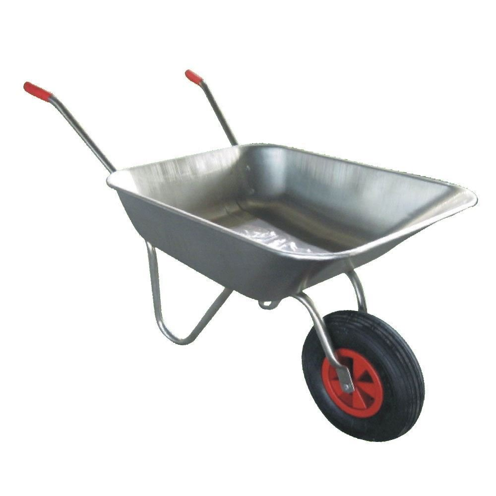 As Direct Ltd ™ Galvanize Metal Wheelbarrow Cart Inflatable Pneumatic Tyre - Silver supertvproducts14
