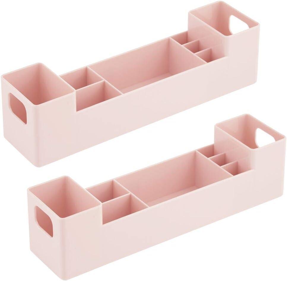 mDesign Juego de 2 cajas clasificadoras con asas para ba/ño Caja para medicamentos apilable con 7 compartimentos para guardar tiritas o aceites rosa Organizador de ba/ño de pl/ástico sin BPA