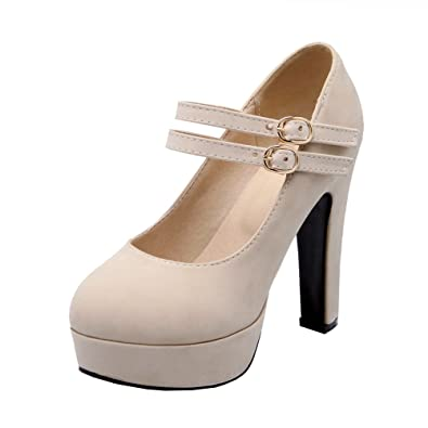 e28878bf74b Agodor Womens Platform Block Heel Mary Janes Pumps Ankle Strap High Heels  Closed Toe Shoes Beige