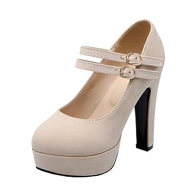 05e490b1877 Agodor Womens Platform Block Heel Mary Janes Pumps Ankle Strap High Heels  Closed Toe Shoes Beige