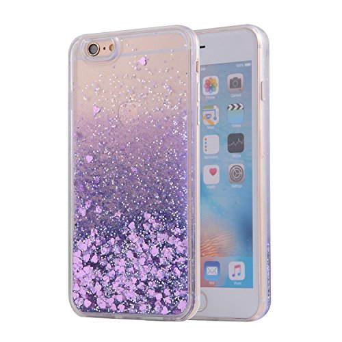 Price comparison product image iPhone 6S Case, SAUS iPhone 6 Case, Funny Liquid Infused with Floating Bling Glitter Sparkle Dynamic Flowing Hybrid Bumper Case for iPhone 6/6S (Purple)