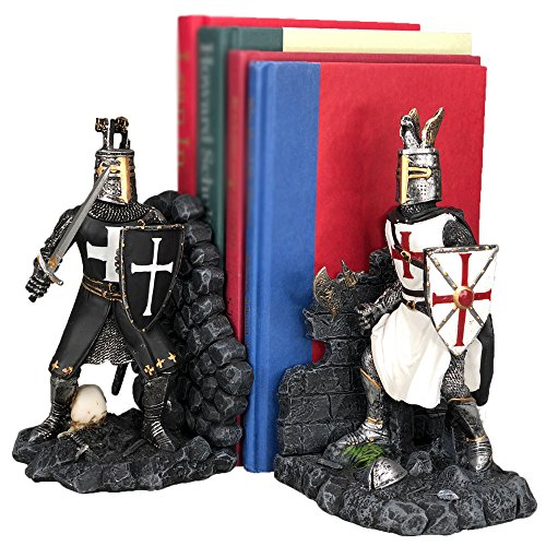 Medieval Time Religious War Crusader Knights Battle of Hattin Decorative Bookends Set -