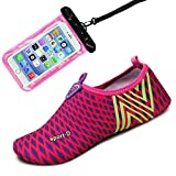 Womens and Mens Water Shoes Barefoot Quick-Dry Aqua Socks for Beach Swim Surf Yoga Exercise (Rose/Stripe)