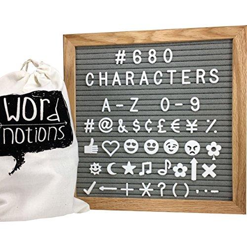 GRAY Letter Board | 680 Changeable Letters, Symbols & Emoji's | 10' x 10' Solid Oak Frame w/ Felt Board Sign| Canvas Pouch