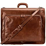 Maxwell Scott Men's Quality Leather Suit Carrier - Rovello Tan: more info