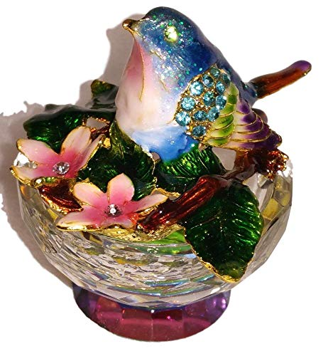 Enamel Glass Jeweled Box - Welforth Jeweled Enamel Bluebird & Pink Flowers Crystal Base Jewelry Trinket Box