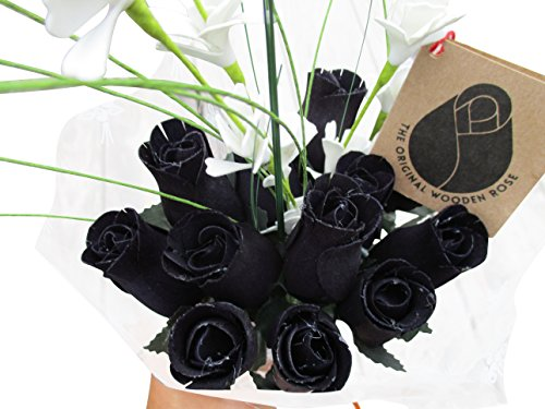The Original Wooden Rose Halloween All Black Gothic Flower Bouquet Closed bud (1 Dozen)
