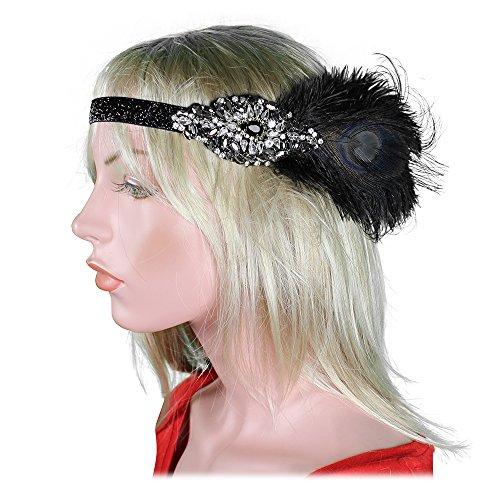 The Great Gatsby Halloween Costumes (1920s Flapper Headband 20s Great Gatsby Headpiece Black White Feather Gatsby Crystal Halloween Costume Party Prom)