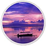 Pixels Round Beach Towel With Tassels featuring ''Sunrise Balisanur Indonesia'' by Pixels