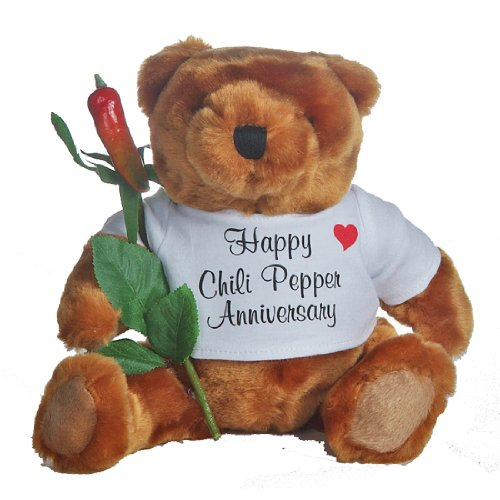 Happy 19th Wedding Anniversary Teddy Bear with Chili Pepper Rose Gift