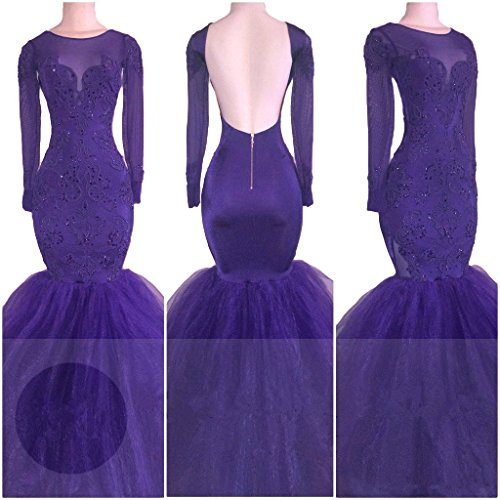 Sleeves Long Lace 2018 CCBubble Purple Prom Mermaid Dress Dresses Prom ZpOqnW7gY