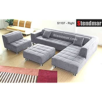 4pc Modern Grey Microfiber Sectional Sofa Chaise Chair Ottoman S1107RG