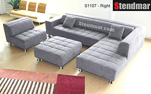 Stupendous 4Pc Modern Grey Microfiber Sectional Sofa Chaise Chair Ottoman S1107Rg Machost Co Dining Chair Design Ideas Machostcouk