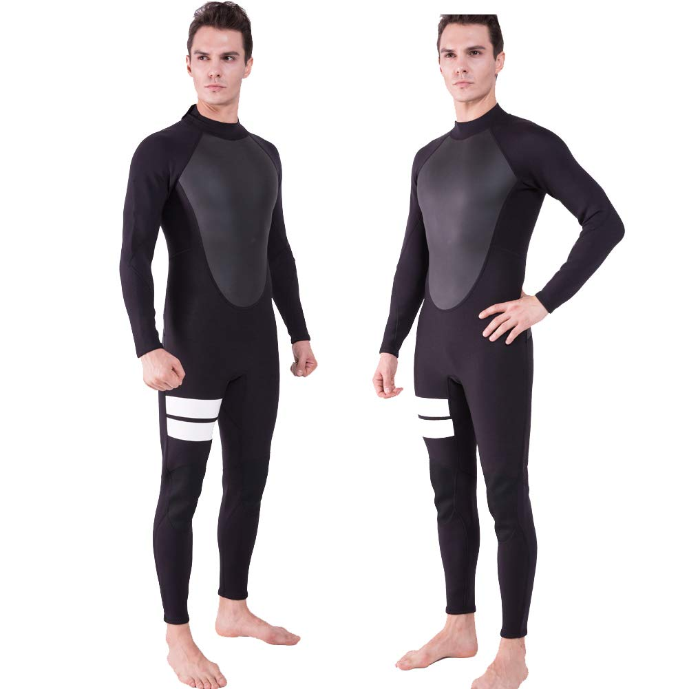 Realon Wetsuit Men Full 2mm Surfing Suit Diving Snorkeling Swimming Jumpsuit (2mm Black, Medium) by Realon (Image #1)