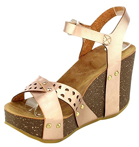 Cambridge Select Womens Open Toe Crisscross Buckled Ankle Strap Perforated Laser Cutout Chunky Platform Wedge Sandal Rose Gold Pu pkoosrzuqV