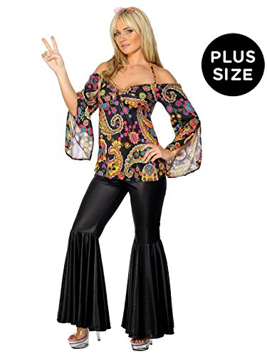Children's Wonder Woman Costume Uk (Smiffy's Women's Hippie Costume, Patterned Top and Flared pants, 60's Groovy Baby, Serious Fun, Plus Size 18-20, 30442)