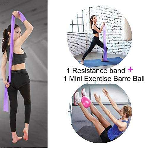 Resistance Band /& Exercise Ball for Barre,Yoga,Pilates,Stability Exercise Training,Deep Tissue Massage Core Training and Physical Therapy