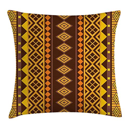Emiqlandg Tribal Throw Pillow Cushion Cover, Vertical African Geometric Ornate Bound Triangle and Diagonal Shapes Art Print, Decorative Square Accent Pillow Case, 18 X 18 Inches, Brown ()