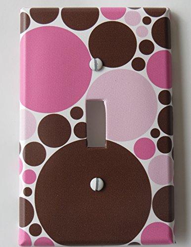 Pink and Brown Polka Dot Light Switch Plate Covers / Single Toggle (And Nursery Brown Polka Pink Dot)