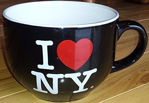 Cup Nyc Coffee (I Love NY Oversize Jumbo Black Soup Coffee Mug Cup)