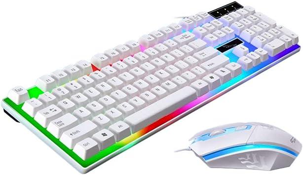 Kinshops Juego de ratón y Teclado USB con Cable Luminoso G21 ...