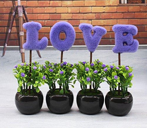 C&L LOVE Mini Purple Hedge Artificial Plants, Ceramic Cube Faux Flowers Planters (Purple)