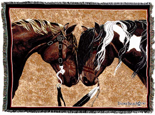 Pure Country Weavers | Warriors Truce II Horses Woven Tapestry Throw Blanket with Fringe Cotton USA 72x54