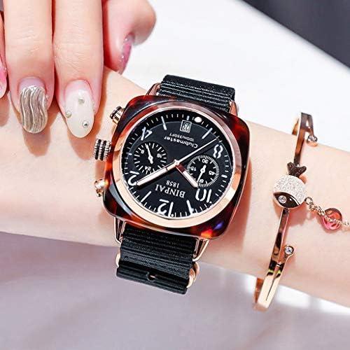 工業用女性の腕時計グリーントーンケース、ギア中空ダイヤル、キャンバスストラップ付きの女性の腕時計、防水アナログガール腕時計 (色 : ブラック)