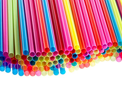 (Veans Plastic drinking disposable cocktail colored eco kids straws Length-7 3/4 Inches Diameter-1/4 Inches, 0.25 inch Wide)