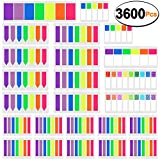 SIQUK 3600 Pieces Page Markers Colored Sticky Tabs Page Marker Flag Polka Dots and Stripes Note Tabs Fluorescent Index Flags Tab, 24 Sets