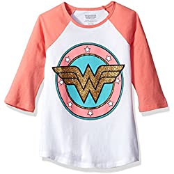Warner Brothers Big Girls' Dc Comics Wonder Woman T-Shirt, White/Coral, 7/8