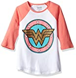 Warner Brothers Big Girls' Dc Comics Wonder Woman T-Shirt, White/Coral, 10
