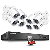 ANNKE 16 Channel Security Camera Outdoor system 3MP 1920x1536p 5-in-1 DVR Video Recorder with 1TB HDD and (8) 1080P Weatherproof Indoor&Outdoor Cameras