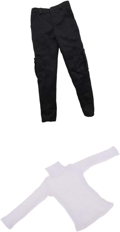 1//6 Turtleneck Stretch Slim Top Pants Set WHITE for 12/'/' Female Figure PHICEN