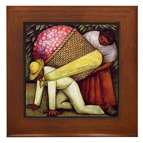 CafePress - Diego Rivera Flower Picker Art - Framed Tile, Decorative Tile Wall Hanging