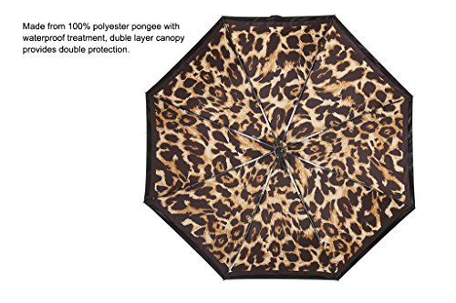 Kobold Tavel Umbrella Compact Mini Lightweight Travel Umbrellas for Women Double Layers Canopy for Rain Sun Protection Comfortable Handle Leopard Print by Kobold (Image #9)