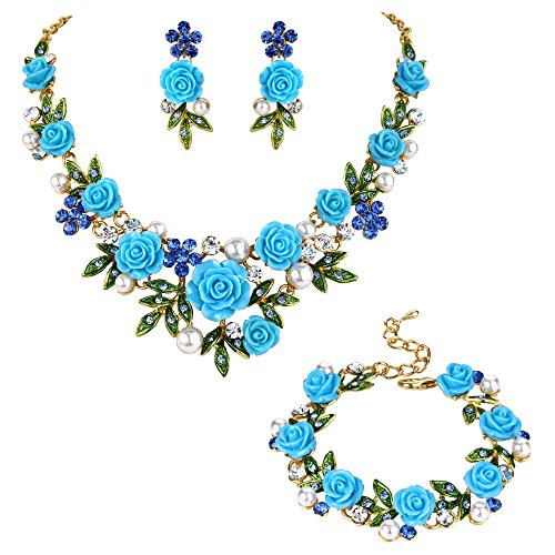 (EVER FAITH Crystal Simulated Pearl Rose Flower Leaf Necklace Earrings Bracelet Set Blue Gold-Tone)