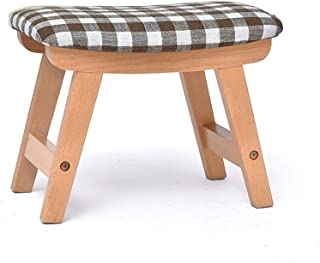 Fabric Sofa Stool Adult Footstool Solid Wood Stool Home Shoe Bench Creative Small Bench Disassembly And Washing Design, Strong Load Bearing With 4 Legs (Color : BROWN)