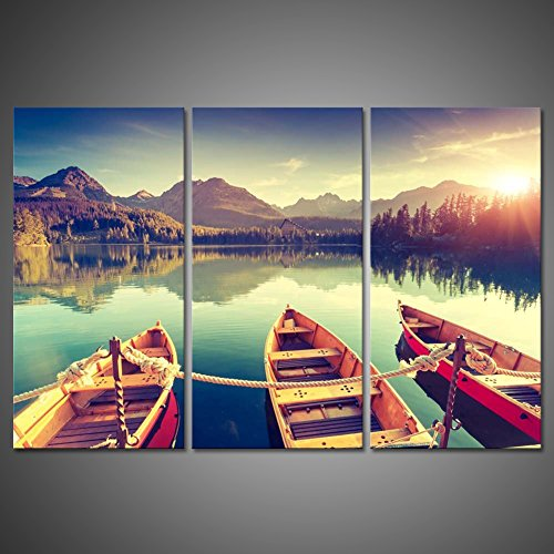 Wall Art Three Old Boats Lake Wood Dock Painting Picture Print Canvas Landscape Home Modern Decoration Mountain In National Park High Tatra Strbske Pleso Slovakia Europe Giclee Artwork by uLinked - Slovakia Of Pictures