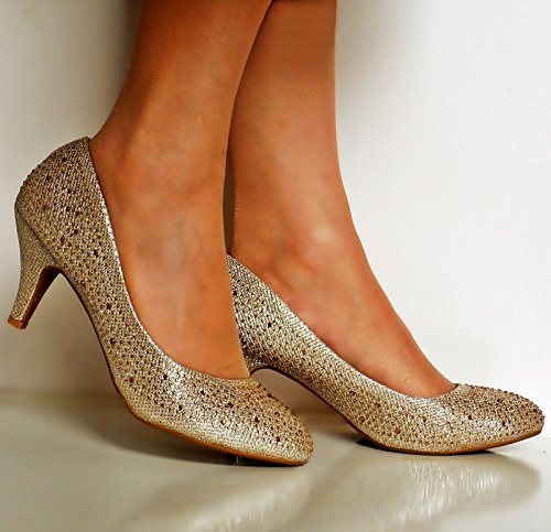 Tamaño corte Diamante Ladies Bombas Low Heel Gold Styles nupcial de Zapatos Rock on tacón de Party TqFwHnU