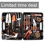 Garden Tool Set OUTAD 12 Pieces Ergonomic Gardening Hand Tool Kits  with Grass Sheers, Pruning Saw, Trowel Set, Rakes, Watering Bottle and Measuring Tapes