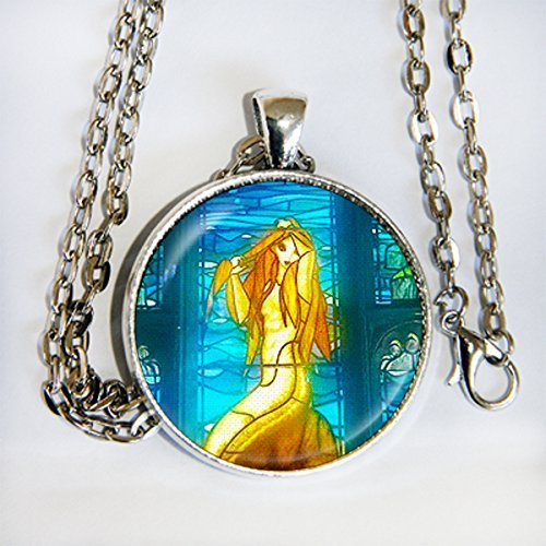 (Harry Potter Mermaid stained glass window - pendant necklace -)