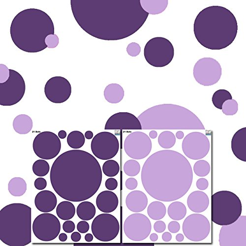Purple Decals - Create-A-Mural : Dark & Light Purple Polka Dot Decals for Girls Room Walls