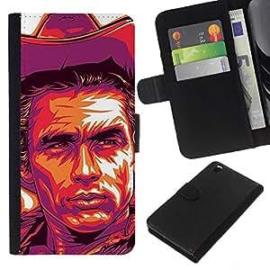 Planetar® Modelo colorido cuero carpeta tirón caso cubierta piel Holster Funda protección Para HTC DESIRE 816 ( Cowboy Purple Yellow Man West Wild )