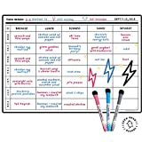 Magnetic Whiteboard Weekly Planner by Keen Bean Boards | Large A3 Dry Erase Memo Board Fridge Magnet -— Diet Tracker, Meal Planner, Chore Manager