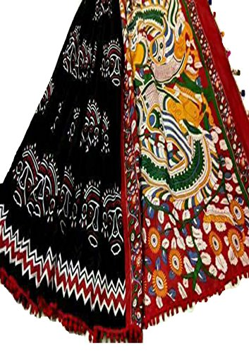 Fashions Trendz Indian Hand Block Printed Cotton MUL Sarees for Women Wedding Designer Party Wear Traditional Black Sari. by Fashions Trendz