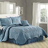Home Soft Things Serenta Damask 4 Piece Bedspread Set, Queen, Forget Me Not