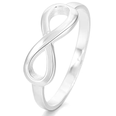 Munkimix 925 Sterling Silver Ring Silver Infinity Symbol 8 Ring