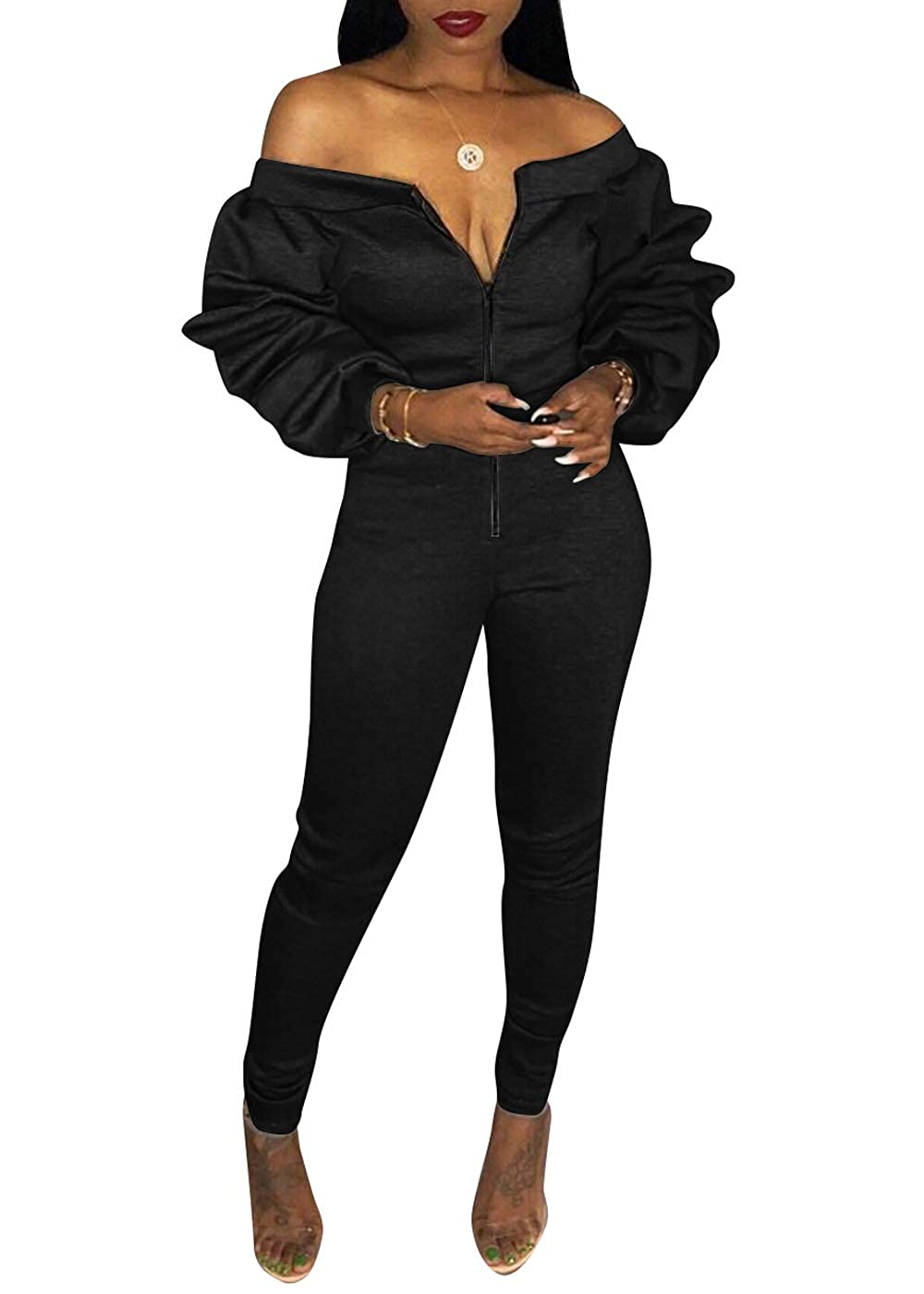 29b41d623a8 Amazon.com  VNVNE Women s Off Shoulder Ruffle Long Sleeve Front Zip up Bodysuit  Jumpsuit Long Pants Rompers  Clothing